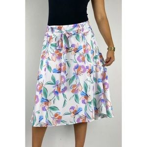 REVIEW White Floral Belted Midi Skirt Size AU 14